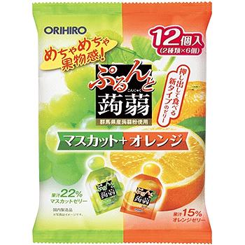 ORIHIRO 蒟蒻果冻绿葡萄味+橙子味240g 低卡高纤美味营养